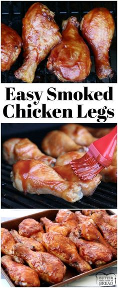grilling recipes Easy Smoked Chicken Legs made with just a few simple ingredients in 2 hours. Simple recipe for smoking chicken drumsticks during your next BBQ. Perfect recipe to start learning how to use your electric smoker! Traeger Recipes, Grilling Recipes, Meat Recipes, Grilling Tips, Dinner Recipes, Smoked Chicken Recipes, Chicken Drumstick Recipes, Traeger Chicken, Snacks