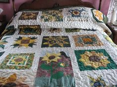 Quilted Field of Sunflowers by SweetDreamsbyMoosie on Etsy, $300.00