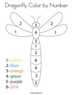 Dragonfly Color by Number Coloring Page - Twisty Noodle Activities For 5 Year Olds, Insect Activities, Preschool Art Activities, Preschool Writing, English Activities, Preschool Worksheets, Preschool Learning, Preschool Activities, Teaching