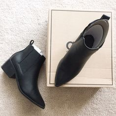 ASOS Faux Leather Pointy Toe Boots. Really upset about having to list these. Just got these in the mail today from ASOS. Great dupe for the Acne Jensens. Faux leather. Purchased these in a size 7 for extra room for thick socks. Well...they're way too big.  Box & boots say 5. Not sure what that's all about but they're definitely not a 5. Also I noticed there was wear on the bottom but not bad wear. But I've never worn them. Must have been a return to ASOS. hate doing online returns so I'm…