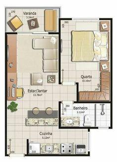 Planta 1 quarto Small Tiny House, Small House Plans, House Floor Plans, Apartment Floor Plans, Tiny Apartments, Bedroom House Plans, House Layouts, Small Space Living, Apartment Design