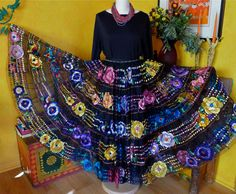 Mexican Embroidered Skirt - Chiapa de Corzo Dance skirt - 8-9 yds of magic. $195.00, via Etsy.