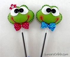 Frog Crafts, Diy And Crafts, Crafts For Kids, Arts And Crafts, Fabric Crafts, Sewing Crafts, Sewing Projects, Pencil Toppers, Felt Patterns