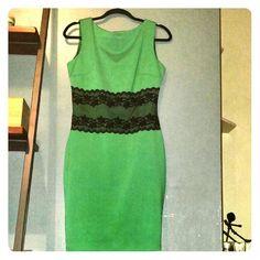 Spotted while shopping on Poshmark: Elegant green dress with black lace! #poshmark #fashion #shopping #style #Emage #Dresses & Skirts