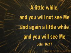 "Knowing #JESUS Everyday  Some of His disciples then said to one another, ""What is this thing He is telling us, 'A little while, and you will not see Me; and again a little while, and you will see Me'; and, 'because I go to the #Father'?"" #John 16:17 (NASB)  #GOD #LORD #Disciples #Bible #Christianity #HOPE #FAITH #LOVE #justbelieve #JESUSlovesYOU"