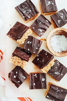 Salted Chocolate Peanut Butter Krispie Treats is an easy dessert and snack for chocolate lovers, like me! | foodiecrush.com