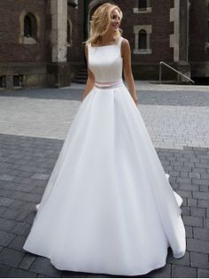 Princess Wedding Dresses, Ivory A-line/Princess Wedding Dresses, Princess Long Wedding Dresses, Fashion Simple Wedding Dresses Beautiful A-line Square Satin Ivory Bridal Gown WF02G43-844