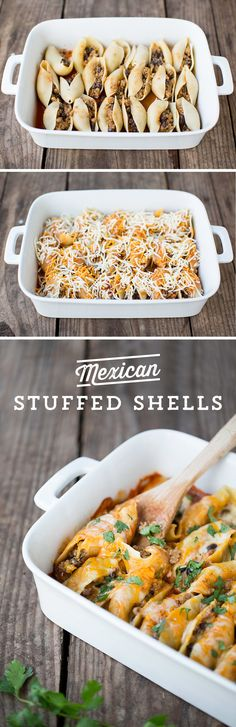 Can't decide if you should have pasta or Mexican for dinner? Why not both!? These Mexican Stuffed Shells from @iheartnaptime are sure to please your whole family! They're cheesy and pack a mild spice, and can be topped with all of your family's favorite toppings! Ready in under an hour!