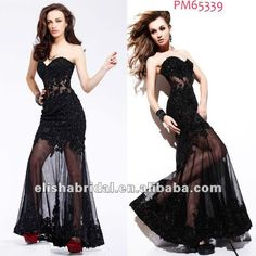 Image detail for -... Full Length Sweetheart See Through Embroidered Black Lace Prom Dress