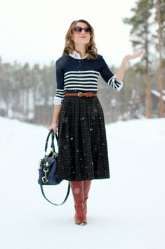 midi skirt with tall boots. wish i was tall enough to pull off this look.