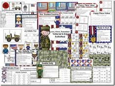 Veteran's Day Centers (Math & ELA) Kindergarten Learning, Teaching, Veterans Day Activities, Teacher Boards, Center Ideas, Second Grade, Social Studies, American History, School Stuff