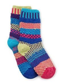 Mismatched Socks . $17.00. Mismatched socks were once a fashion don't. Today they're a statement of personal style. Soft, comfy socks are knit from a durable blend of recycled cotton and nylon with a touch of Lycra for stretch. Eco-friendly dyes create the cheerful reds, greens, yellows, and blues. Fits women's sizes 8-10 and men's sizes 5-7. Machine wash. Handmade in Vermont by Marianne Wakerlin.