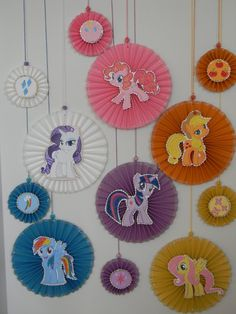 Pony Party Decoration, Party decoration, Paper rosettes, sparkly rosette, theme birthday,  Wall decoration, Handmade party decor