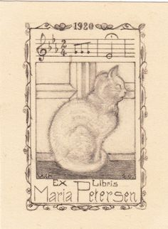 ≡ Bookplate Estate ≡ vintage ex libris labels︱artful book plates - kitty cat