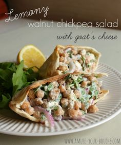 Lemony walnut chickpea salad with goat's cheese