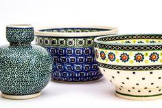 Set of Three Vintage Boleslawiec Pottery Wiza Pottery by EMOharra