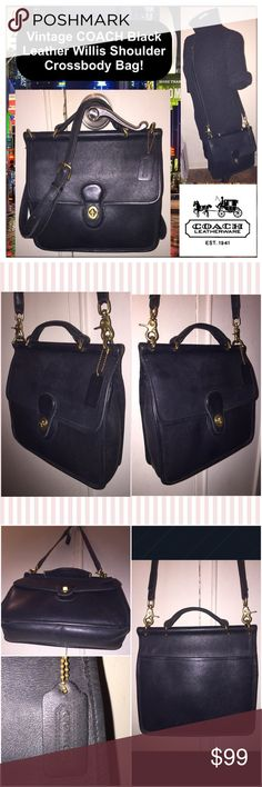 """Vtg COACH Leather Willis Shoulder Crossbody Bag! Vintage COACH Black Leather Willis Shoulder Crossbody Bag! Features: top handle, one back slip pocket, one under front flap, one int zip pocket, adjustable shoulder strap, brass turn-lock closure, brass tone hardware, Coach hang tag, creed & serial no. 9927 on inside. Measures: 9.5''H (very top to very bottom) x 10.5''Lx 3""""D. Up to 27"""" body clearance. Very minor ext marks. Excellent condition. OFFERS WELCOME! Coach Bags"""