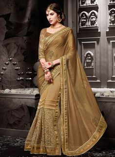 Buy Noble Embroidered Work Designer Half N Half saree  #sarees #royal #designersarees #ethnic #glamour #sareelove #sareesonline