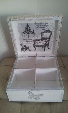 Vintage look Decoupage Box Decoupage Wood, Napkin Decoupage, Decoupage Vintage, Diy Arts And Crafts, Diy Crafts, Cigar Box Crafts, Shabby Chic Crafts, Tea Box, Pretty Box