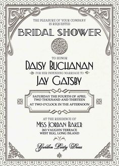 Gatsby Invitation Art Deco Wedding Birthday by WestminsterPaperCo - like the letter type