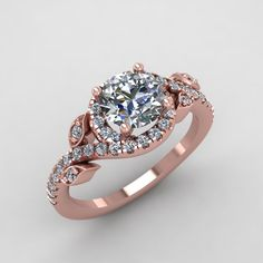 rose gold diamond and moissanite engagement by fabiandiamonds