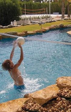 The Water Volleyball Pool Game set gives you a fun water activity to do while beating the heat this summer.
