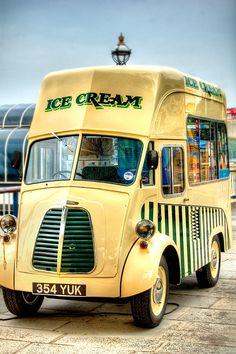 Morris ice cream van, Southbank, London, England - I love the registration