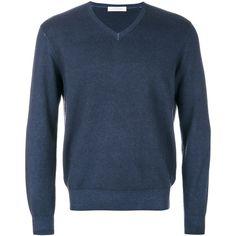 Cruciani v-neck jumper (1.585 BRL) ❤ liked on Polyvore featuring men's fashion, men's clothing, men's sweaters, blue, mens long sleeve v neck sweater, mens v neck sweater, mens navy blue v neck sweater, mens vneck sweater and mens cashmere sweaters