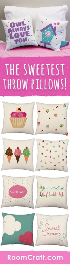 Sugar and spice and all things nice, that's what little girls are made of. These sweet throw pillows will add some personality to any space. Each adorable design is offered in multiple fabrics, colors, and sizes making them a great addition to any room, play room or nursery. Our quality nursery pillow covers are made to order in the USA and feature 3 wooden buttons on the back for closure. Choose your favorite and create a truly unique pillow set. #roomcraft