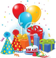 Birthday Clipart - Balloons, Hats and Presents