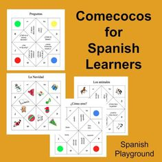 A game for teaching Spanish vocabulary and questions. http://spanishplayground.net/spanish-game-printable-cootie-catchers/