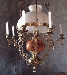 Exceptionel Large Brass Bronze French 1800-1840 Oil Lamp Chandelier With Candles