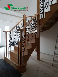 Oak Dogleg staircase with bespoke metal spindles flowing into a volute finish on the end of each handrail Timber Staircase, Staircase Design, Stairs, Staircase Manufacturers, Metal Spindles, Bespoke Staircases, Traditional Looks, Home Builders, Building