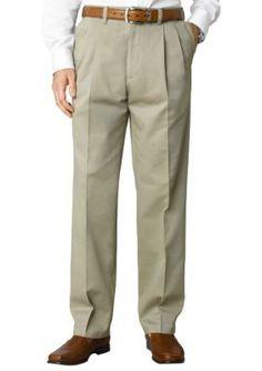 Savane Khaki Straight-Fit Performance Chino Comfort Waist Pleated Wrinkle-Free Pants