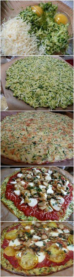 Zucchini Crust Pizza Teig: 1 gr. Ei (2 kl.) ca. 3 mittlere Zucchinis (je 20cm) 1,5 cups gerieb. Parmesan/Mozzarella Gewürze: Salz/Pfeffer/Oregano, 20min bei 175°C Umluft (200°C)