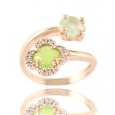 """Sortija doble """"tu y yo"""" con piedras facetadas y circonitas en plata/oro rosa/ Sterling silver pink pink gold plated ring with two stones and zirconites 30€"""