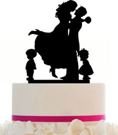 family wedding cake topper with 2 boy, bride and groom silhouette ...