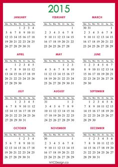 New York Web Design Studio, New York, NY: 2015 Calendar Printable - A4 Paper Size - Red, Green, White