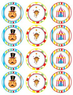 Fisher Price Circus Cupcake Toppers DIGITAL FILE by JazNAryDesigns
