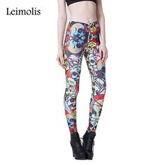3D printed fitness gothic retro red Rose Skull adventure time punk rock pants