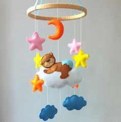 Crib mobile, Baby mobile, Nursery decor, Baby crib mobile, Baby mobile hanging, Felt mobile, bear crib mobile, girl Crib mobile, boy mobile  Sleeping