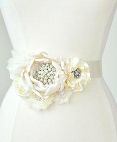 Bridal Sash  Ivory Flower Jeweled Bridal by weddingsandsuch, $95.00