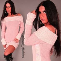 SOFTand SEXY KNITTED OFF SHOULDER BOAT NECK JUMPER CARDIGAN TUNIC WINTER WARM !! | eBay
