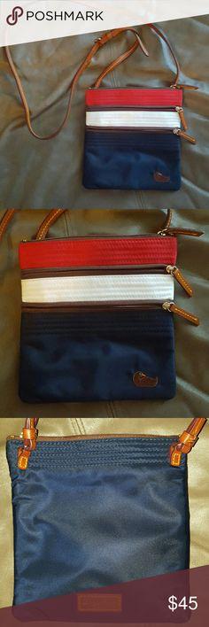 Dooney & Bourke Crossbody Bag Dooney & Bourke Nylon Triple Zip crossbody bag, red, white,  blue with brown leather, in excellent condition Dooney & Bourke Bags Crossbody Bags