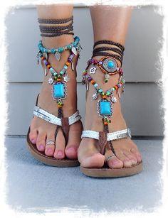 Sandalia de fiesta sandalias Boho descalzo turquesa por GPyoga