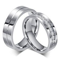 新しいカップル婚約リング愛好家のリングのための女性と男性ステンレス鋼ジュエリーaaa + czストーンウェディングバンド決してフェードまたはさび