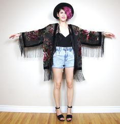 Black Velvet Rose Floral Kimono Peacock Gypsy by honeymoonmuse, $115.00