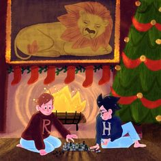 #31daysofharry Day 2! Christmas at Hogwarts! Also, YOU GUYS! Thank you for participating in this!! Looking at all your drawings made my heart sing! I'm excited to see what else you guys come up with!! ❤️❤️❤️❤️ #ronweasley #harrypotter #procreateapp #illustration #hogwarts