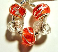 European beads set red white charms PBS641