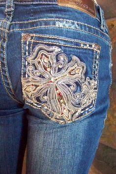 Grace in La Embellished bling cowgirl jeans junior size waist 25 26 27   #GraceInLA #BootCut